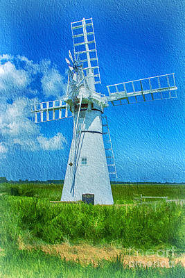 Thurne Dyke Mill Textured Original by Chris Thaxter