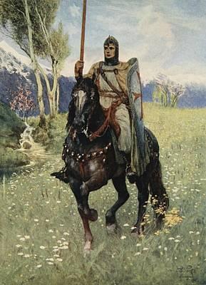 Shield Drawing - Thus It Was That Parsifal Began by Ferdinand Leeke