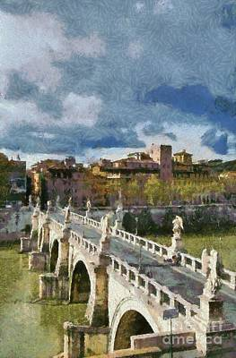 Castle Painting - Tiber River In Rome by George Atsametakis