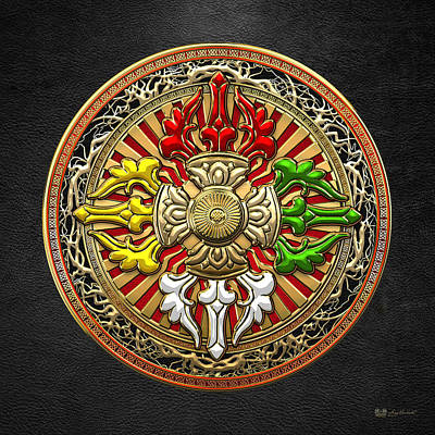 Tibetan Double Dorje Mandala - Double Vajra On Black Leather Print by Serge Averbukh