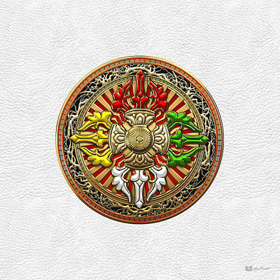 Tibetan Double Dorje Mandala - Double Vajra On White Leather Print by Serge Averbukh