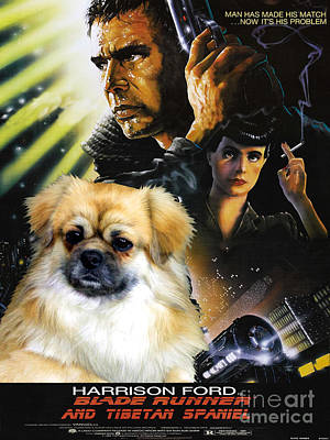 Tibetan Spaniel Painting - Tibetan Spaniel Art - Blade Runner Movie Poster by Sandra Sij