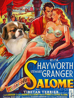 Tibetan Spaniel Painting - Tibetan Spaniel Art - Salome Movie Poster by Sandra Sij