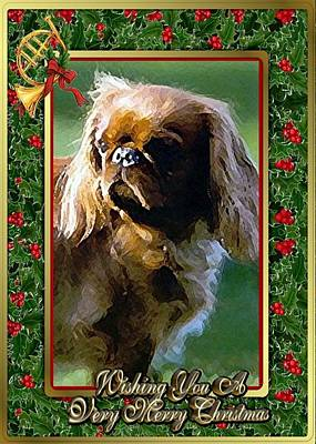 Tibetan Spaniel Christmas Print by Olde Time  Mercantile