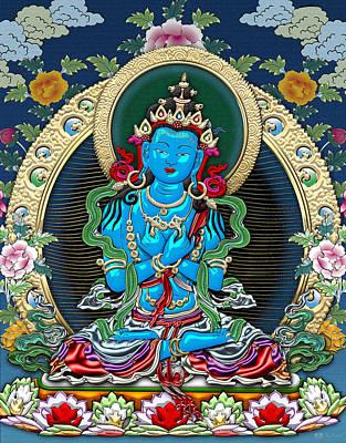 Tibetan Buddhism Digital Art - Tibetan Thangka  - Vajradhara -  Dharmakaya Buddha by Serge Averbukh