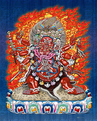 Tibetan Thangka  - Wrathful Deity Hayagriva Print by Serge Averbukh