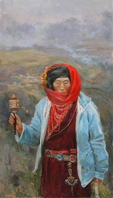 Buddhism Painting - Tibeten by Victoria Kharchenko