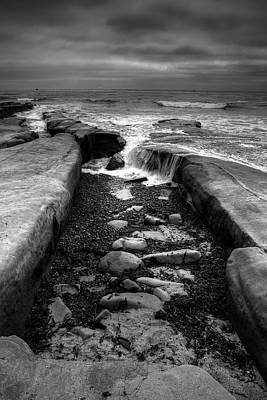 Tidepool Falls Black And White Print by Peter Tellone