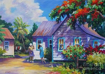 Bahamas Landscape Painting - Tidying The Yard by John Clark