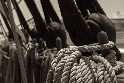 Wooden Ships Photograph - Tied Up Black And White Sepia by Scott Campbell
