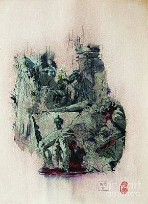 Statesmen Mixed Media - Tiepolos  Death Of Seneca by Roberto Prusso