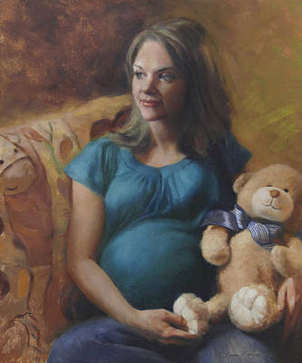 Teddy Bear Painting - Tiffany Expecting by Anna Rose Bain