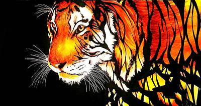Tiger Abstract Ink Painting Print by Desire Doecette