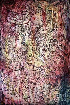 Tiger And Woman Print by Kritsana Tasingh