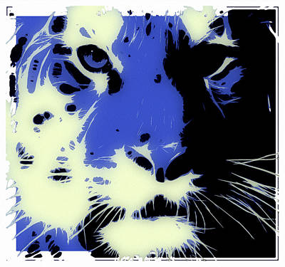 Tiger Digital Art - Tiger Blue by Tilly Williams