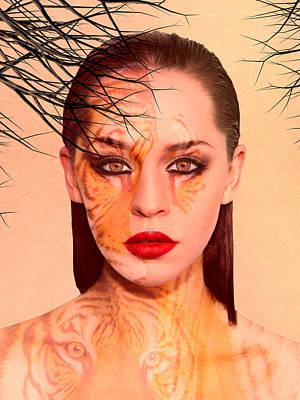 Mystical Women Mixed Media - Tiger Eyes Portrait by Sharon Lisa Clarke