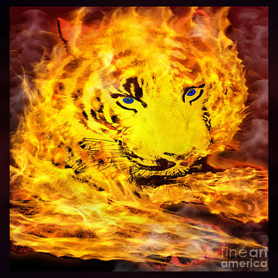 Tiger On Fire Print by Gary Keesler