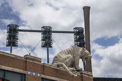 Tiger On Roof Of Comerica Park Print by John McGraw