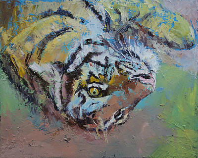 Abstract Wildlife Painting - Tiger Play by Michael Creese