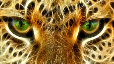 Macro Digital Art - Tiger Portrait  by Mark Ashkenazi