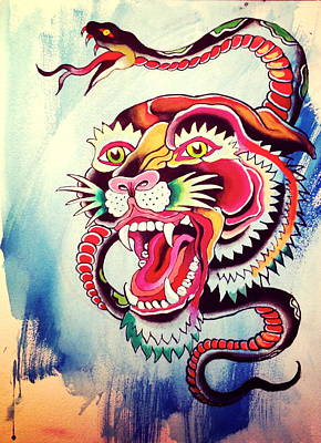 Tattoo Flash Painting - Tiger Snake by Britt Kuechenmeister