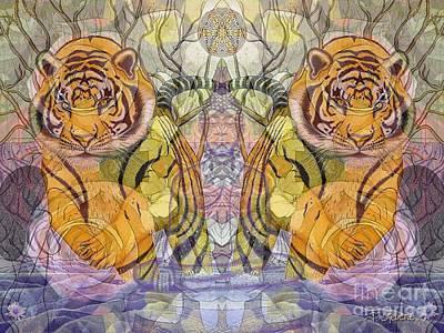 Tiger Spirits In The Garden Of The Buddha Print by Joseph J Stevens