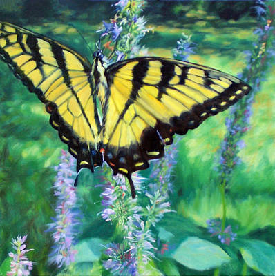 Garden Scene Painting - Tiger Swallowtail- Enjoying The Sweetness by Bonnie Mason