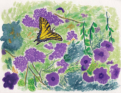 Butterfly Painting - Tiger Swallowtail On Purple Flowers Watercolor Painting by Conni Schaftenaar