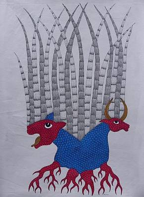 Gond Tribal Art Painting - Tiger Tales by Dhavat Singh Uikey