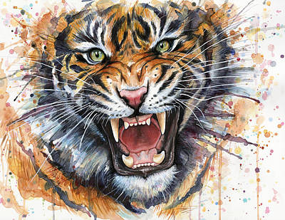 Wild Animals Mixed Media - Tiger Watercolor Portrait by Olga Shvartsur