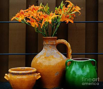 Wrap Digital Art - Tigerlilies And Pottery by Marsha Heiken