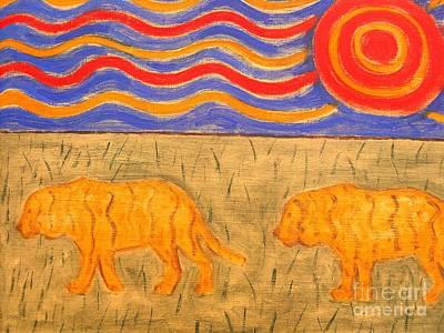 India Wildlife Painting - Tigers by Patrick J Murphy