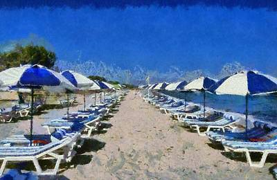 Umbrellas Painting - Tigraki Beach In Kos Island by George Atsametakis