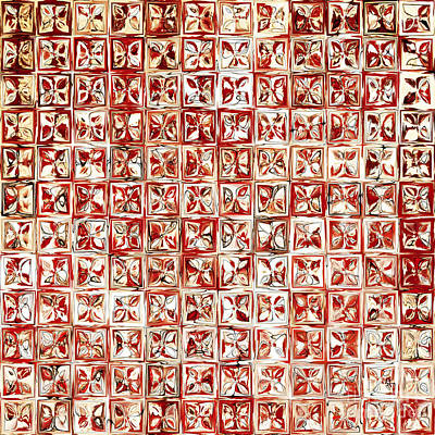 Red Cube Painting - Tile Art 4 2013 Modern Mosaic Tile Art Painting by Mark Lawrence