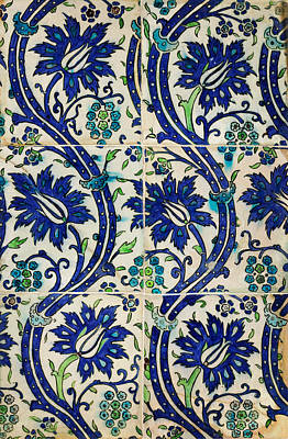 Tile Panel With Wavy-vine Design Print by Celestial Images