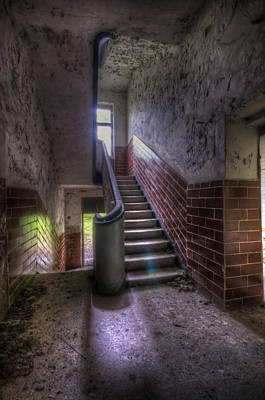 Dilapidated Digital Art - Tiles Stairs And A Window by Nathan Wright
