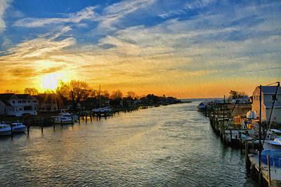 Md Digital Art - Tilghman Narrows At Sunrise by Bill Cannon