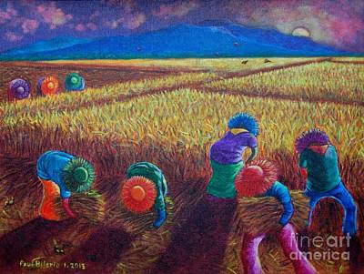 Rice Painting - Till Dusk by Paul Hilario