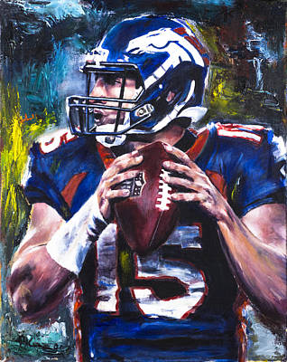 Tebow Painting - Tim Tebow by Mark Courage