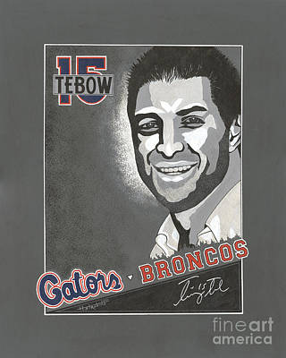 Tim Tebow Portrait Print by Herb Strobino
