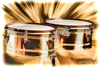 Timbale Drums For Latin Music Painting In Color 3326.02 Print by M K  Miller