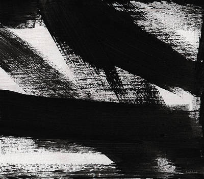 Timber 2- Horizontal Abstract Black And White Painting Print by Linda Woods