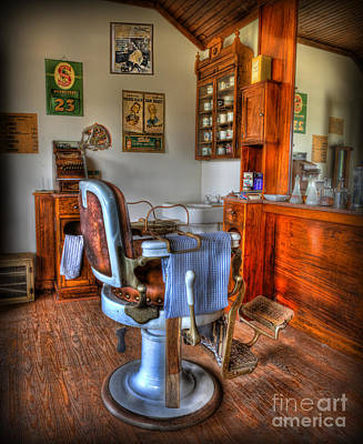 Barberchair Photograph - Time For A Cut And Shave - Barber  by Lee Dos Santos