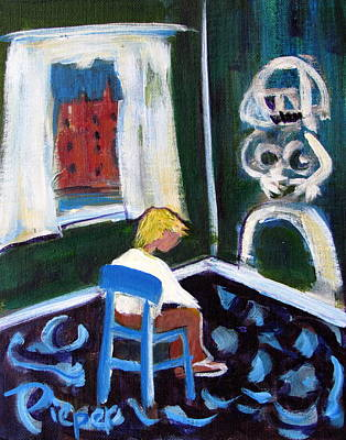 Time Out For De Kooning In A Chair In A Corner Print by Betty Pieper