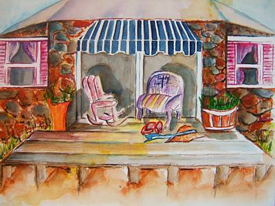 Side Porch Painting - Time Out IIi by Elaine Duras
