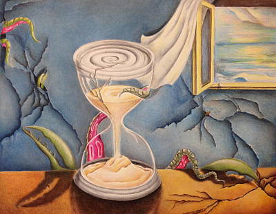 Hourglass Drawing - Time by SL Sistrunk
