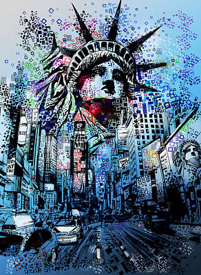 Statue Portrait Digital Art - Times Square 2 by Bekim Art
