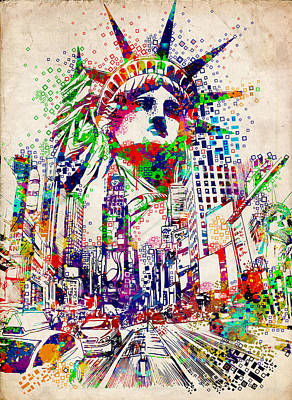 Statue Portrait Digital Art - Times Square 3 by Bekim Art