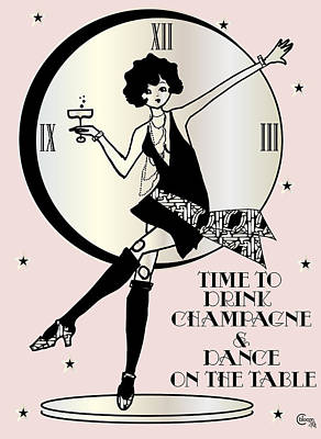 Time To Drink Champagne And Dance On The Table 1920s Gatsby Flapper Girl Pink Print by Cecely Bloom