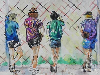 Baseball Card Painting - Time To Play Ball by Chrisann Ellis